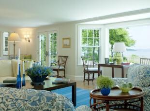 ,95平,11万,地中海,两居,客厅,白蓝,