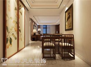 天骄华庭138平3室2厅新中式风格装修案例——客餐厅装修效果图,138平,12万,中式,三居,餐厅,黄白,