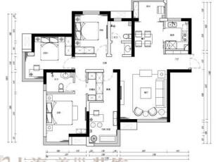 天骄华庭138平三室两厅新中式风格装修户型图,138平,12万,中式,三居,