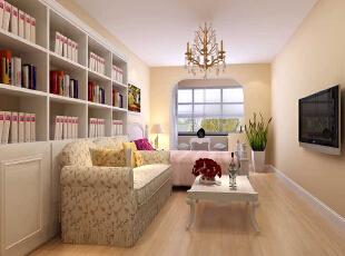 大卧室 14.70平米的主卧 设计理念:主卧作为业主休憩的场所,已不再需要过多的装饰,浅色、大地色的运用让它回归至身心放松的圣地。亮点:大面积的白色书柜搭配粉红色碎花沙发,再配上绝佳的采光让卧室中的下午茶时光更加惬意美好,61平,6万,田园,两居,