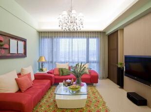 绚丽休闲混搭风,90平,11万,混搭,两居,客厅,棕色,青绿色,