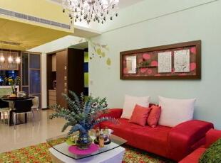 绚丽休闲混搭风,90平,11万,混搭,两居,客厅,青绿色,黄色,