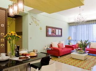 ,90平,11万,混搭,两居,客厅,春色,