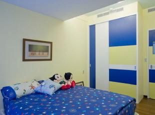 混搭风格装修效果图 色彩鲜艳的小空间,90平,11万,混搭,两居,卧室,白蓝,