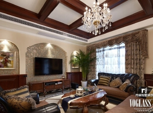 ,660平,95万,美式,别墅,客厅,原木色,