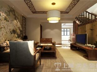 金领时代装修160平四居室复式新中式样板间效果图——客厅全景效果图,客厅墙饰古典、雅致,古朴、厚重的家具配上现代中式的羊皮水晶灯,令整个空间充满风情;,160平,12万,中式,复式,金领时代装修,美巢装饰,装修装饰,装修优惠,装修团装,客厅,原木色,