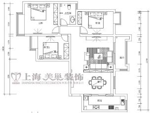 润城129平三室两厅混搭装修户型方案图效果,129平,7万,混搭,三居,