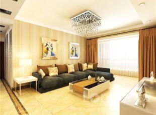 ,134平,4万,现代,三居,客厅,原木色,黄色,