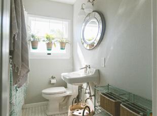 卫浴一定要营造出自然的感觉,水汽蒙蒙中尽享舒心怡然。,95平,7万,混搭,两居,卫生间,白色,