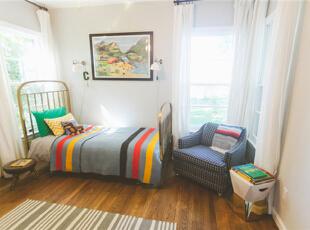 为孩子打造的宽敞儿童房,已经9岁的Tony,不再希望他的房间仅仅是幼稚童趣,更注重一些创意和他生活的空间。,95平,7万,混搭,两居,卧室,白色,