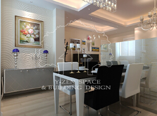 餐桌、椅经典的黑色与白色的搭配,吊灯的加入,更是一大亮点,整个餐厅给人感觉简约而时尚,60平,6万,现代,两居,餐厅,