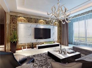 ,130平,5万,混搭,三居,原木色,黄色,黑白,客厅,欧式,现代,简约,