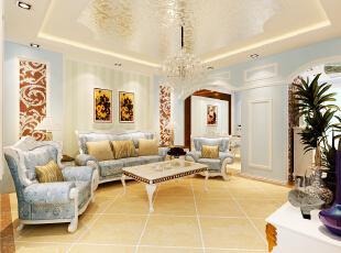 设计理念:温馨的色彩,精美的装饰达到简欧的效果,灯光吊顶的运用,增加了空间的层次感。造型传承欧式并加以创新,使风格特点得以更加明确。 亮点:在经典欧式电视背景墙采用了金属马赛克效果墙壁则大胆采用浅蓝色墙漆史空间更加具有冲击力而不失时尚,电视墙与沙发背景采用欧式石膏线条勾勒,突出欧式风格的特点;顶面采用欧式线条和金属马赛克上顶使整个空间的层次感更加分明,简欧水晶灯具的点缀增加简欧风格的视觉效果。,90平,6.5万,欧式,一居,客厅,白蓝,黄色,