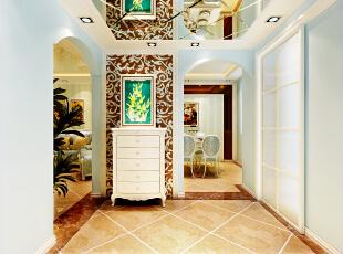 设计理念:温馨的色彩,精美的装饰达到简欧的效果,灯光吊顶的运用,增加了空间的层次感。造型传承欧式并加以创新,使风格特点得以更加明确。 亮点:在经典欧式电视背景墙采用了金属马赛克效果墙壁则大胆采用浅蓝色墙漆史空间更加具有冲击力而不失时尚,电视墙与沙发背景采用欧式石膏线条勾勒,突出欧式风格的特点;顶面采用欧式线条和金属马赛克上顶使整个空间的层次感更加分明,简欧水晶灯具的点缀增加简欧风格的视觉效果。,90平,6.5万,欧式,一居,餐厅,浅蓝色,