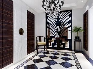 门厅的设计风格是对传统中式风格的改良和延续,它打破了中式风格中规中矩的色彩及造型,融合了现代格子流行元素和大胆的黑白色彩搭配,形成了具经典性与时尚型于一体的新中式别墅装修风格。,700平,300万,中式,别墅,门厅,原木色,白色,