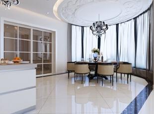 餐厅奉行简约、雅致的原则,在材质的选择上,大多采用黑檀等珍稀名贵木材注重精雕细琢,集艺术、养生、为一体。餐桌上的陶艺清澈、干净,插几大朵白色的山茶或牡丹,简约而富有生活的情趣。,700平,300万,中式,别墅,餐厅,白色,