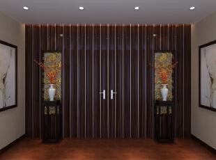 走廊上的两瓶腊梅存着浩然之气,中间的分割门类似丝绸面量的布艺品,丝绸的质感,,700平,300万,中式,别墅,走廊,原木色,