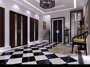 电梯厅简单方便,黑色的镂空装饰分隔了电梯与电梯间的空间,搭配精心选择的镂空式,700平,300万,中式,别墅,电梯厅,黑白,
