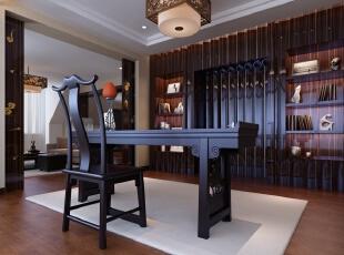 这个别墅装修案例中,设计师考虑到男主人大部分的时间都在书房,从陈列到规划、从色调到材质都体现出雅静的特征。,700平,300万,中式,别墅,书房,原木色,白色,