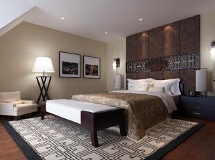 主卧床头背景处,摒弃了传统设计的繁复造型纹路,而是尽量将其简化,保留了中式传统的围合意境也更符合现代人的审美情趣和精神追求。,700平,300万,中式,别墅,卧室,原木色,