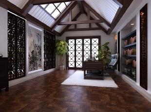 """中式书房最好要有大面积的窗户,但是本户型正好不能满足,所以设计师借用顶面开窗实现了通风采光,另外书房门采用通透的门也可以借到光,此外通过虚实结合的镂空隔断让简单的空间有了纵深感和一些曲径通幽的禅意,采用简单的搭配体现""""宁静、致远""""的最佳氛围。精致的盆栽也是书房的一个亮点,绿色植物不仅让空间富有了生命力,对于长时间思考的人也有助于舒缓精神,业主对书房的设计非常满意。,700平,300万,中式,别墅,书房,原木色,白色,"""