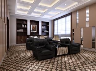 影音室在布艺窗帘、地毯的选择方面独到而时尚,有寓意着吉祥、雍容华贵的回纹地毯,也有崇尚自然情趣的原木柜子,还有富含花、鸟等体现传统美学精神的台灯。经典而时尚,构成了中天御园永不褪色的新中式别墅装修。,700平,300万,中式,别墅,影音室,棕色,白色,