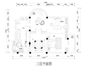 三层是业主两人的私密空间,整层空间通过走廊与其他空间做出分割,门内的主卧室使用了较少的实体分割,软帘、轻纱成为分割的主要工具。,700平,300万,中式,别墅,