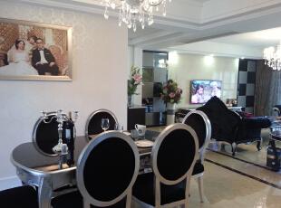 餐厅到客厅,130平,55万,新古典,三居,白色,黑白,餐厅,客厅,
