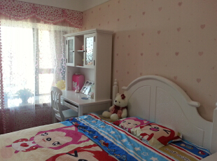 儿童房,130平,55万,新古典,三居,儿童房,白色,粉色,蓝色,