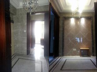 中庭和走道,160平,60万,欧式,三居,玄关,白色,黄色,