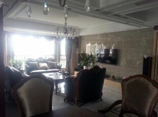 客厅电视背景墙,160平,60万,欧式,三居,客厅,白色,黄色,