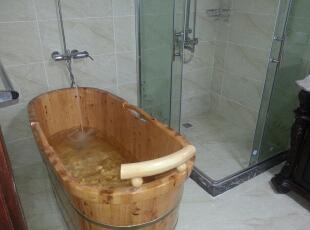 主卫木桶,160平,60万,欧式,三居,卫生间,白色,原木色,黄色,