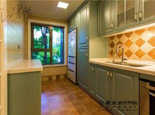 ,300平,80万,美式,别墅,厨房,青绿色,