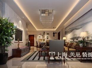 永威翡翠城150平四室两厅新中式风格装修案例——客厅装修效果图,150平,8万,中式,四居,客厅,原木色,