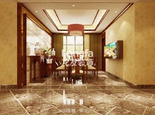 石家庄维多利亚199㎡户型新中式风格装修效果图案例,199平,12万,中式,四居,餐厅,原木色,