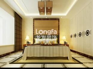石家庄维多利亚199㎡户型新中式风格装修效果图案例,199平,12万,中式,四居,卧室,原木色,白色,