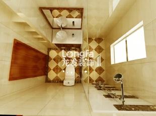 石家庄维多利亚199㎡户型新中式风格装修效果图案例,199平,12万,中式,四居,卫生间,黄白,