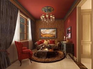,423平,300万,欧式,别墅,客厅,红色,褐色,