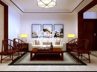 石家庄东胜紫御府170㎡四室两厅户型中式装修效果图,170平,18万,中式,四居,客厅,原木色,