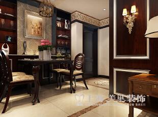 东方国际广场89平两室两厅新古典风格装修方案——餐厅装修效果图,89平,6万,新古典,两居,餐厅,原木色,