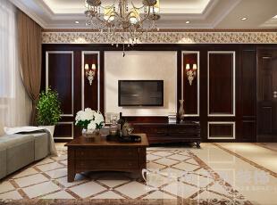 郑州东方国际广场89平两室两厅新古典风格装修效果图——电视背景墙装修效果图,89平,6万,新古典,两居,客厅,褐色,黄色,白色,