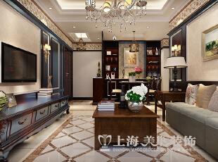 东方国际广场89平2室2厅新古典风格装修样板间——沙发背景墙装修效果图,89平,6万,新古典,两居,客厅,褐色,黄色,白色,