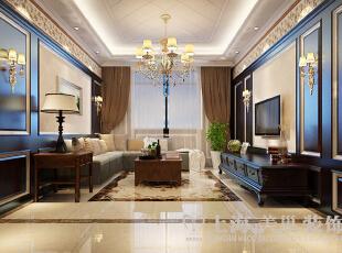 东方国际广场89平两室两厅新古典风格装修方案——客厅1装修效果图,89平,6万,新古典,两居,客厅,褐色,黄色,白色,