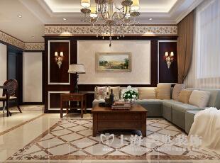 东方国际广场89平两室两厅新古典风格装修案例——客厅装修效果图,89平,6万,新古典,两居,客厅,褐色,黄色,白色,