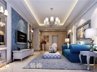 郑州贰号城邦110平三室两厅法式风格装修效果图-客厅效果图,110平,9万,清新,三居,客厅,白绿,