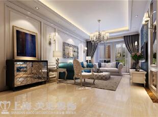 贰号城邦110平三室两厅法式风格装修效果图-沙发墙效果图,110平,9万,清新,三居,客厅,白绿,