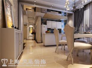 贰号城邦110平3室2厅法式风格装修样板间-餐厅效果图,110平,9万,清新,三居,餐厅,白色,