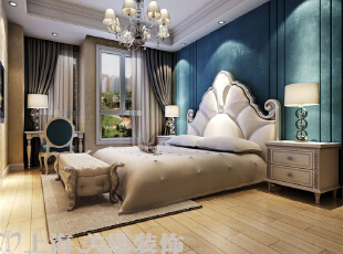 贰号城邦110平3室2厅法式风格装修效果图-卧室效果图,110平,9万,清新,三居,亲爱,白蓝,