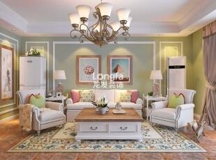 ,100平,4万,清新,两居,客厅,白色,青绿色,