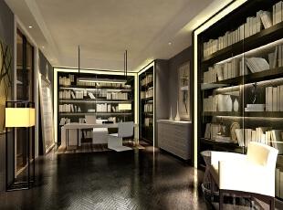书房位于主卧室空间内,形成独立套房,呈现了丰富的别墅空间设计表情。通过简洁、大方的造型营造出富有生命力和文化内涵的艺术空间。,220平,40万,现代,别墅,书房,黑白,